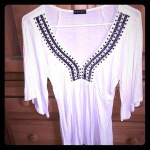 Venus deep V embellished blouse